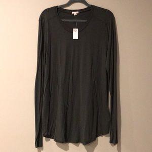 GAP Quilted Shoulder Long Sleeve Shirt